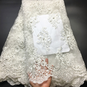 Image 1 - Off White Beaded Lace Fabrics African Lace Fabric 2020 High Quality Lace With Stones, French Nigerian Lace Fabrics for Wedding