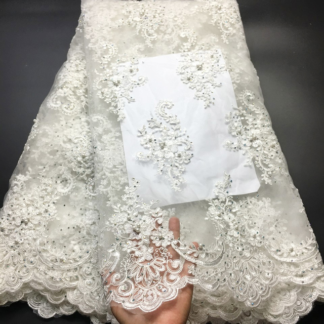 Off White Beaded Lace Fabrics African Lace Fabric 2020 High Quality Lace With Stones, French Nigerian Lace Fabrics for Wedding