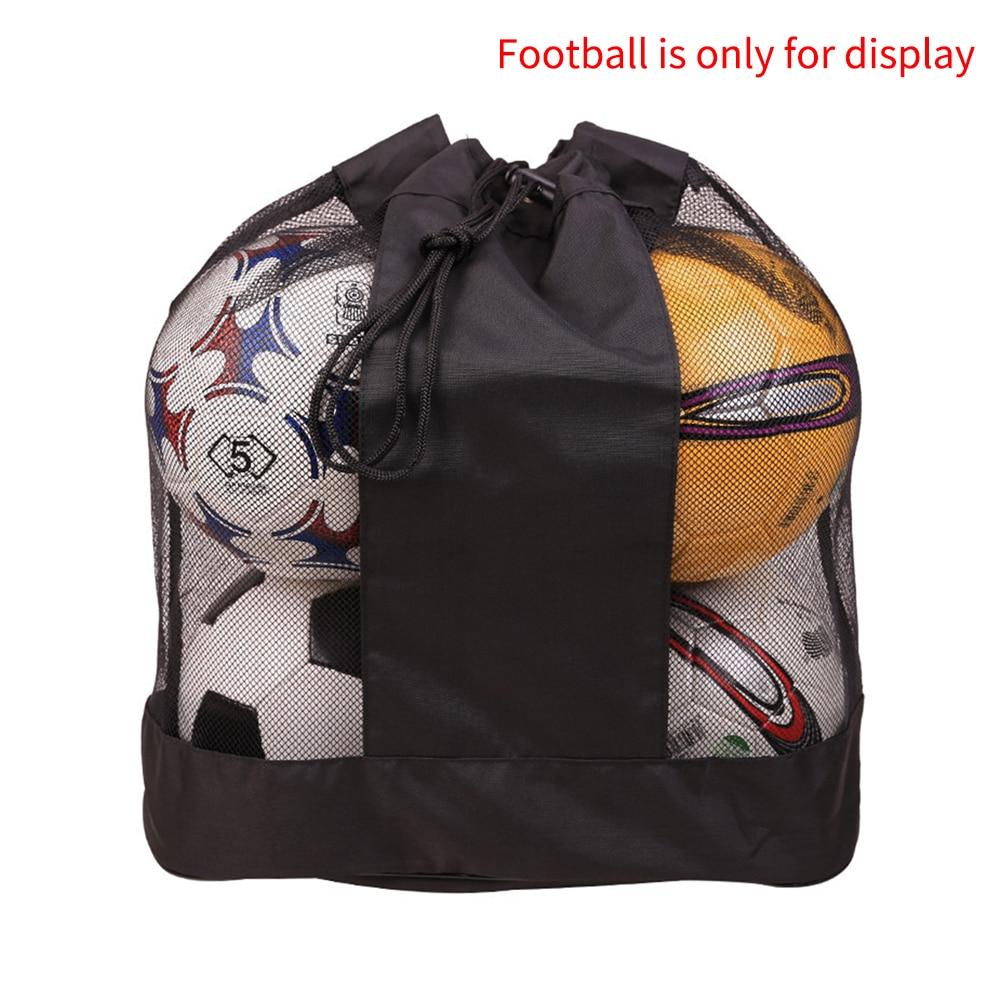 Large Capacity Easy Carry Outdoor Single Shoulder Adjustable Strap Drawstring Basketball Sack Mesh Ball Bag Sports Equipment