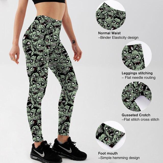 Qickitout Leggings  Drop shipping Women Fashion Leggings Sexy Green zombie Printing LEGGINGS Size S-4XL Wholesale 4