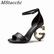 MStacchi-sandalias romanas para mujer, zapatos de tacón alto de piel auténtica de alta calidad, con cierre de cinturón y punta redonda para fiesta
