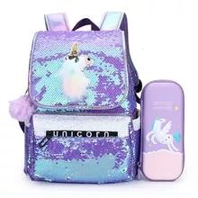 Cute Backpack Schoolbags Pencil-Case Unicorn Kids Children's Girls Cartoon with Kawaii