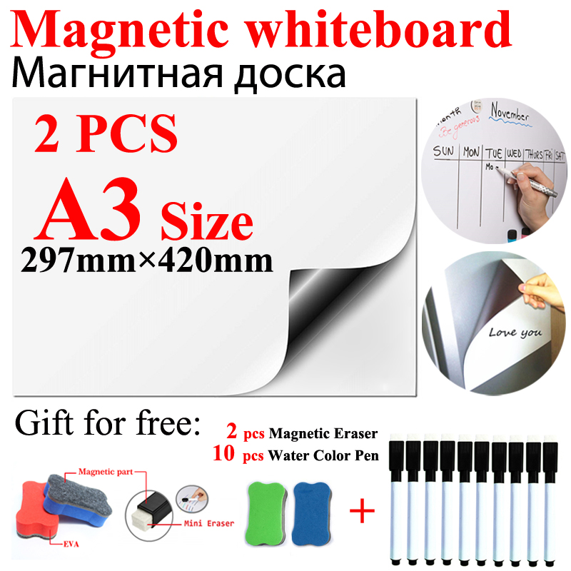 2PCS A3 Size Dry Erase Magnetic Whiteboard Fridge Sticker Flexible Home Office Kitchen Magnet Message White Boards 10pen 2eraser
