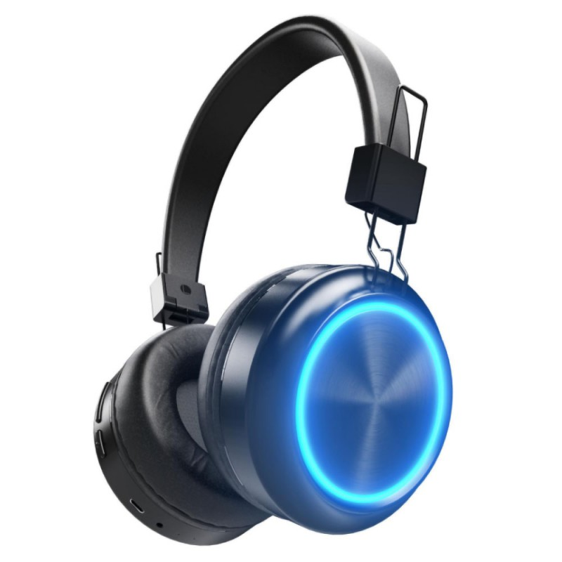 Colorama Bluetooth Headset Beautiful RGB Colorful Light FM Radio Wireless Headph Memory Card