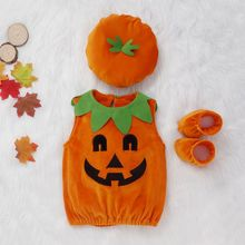 Autumn Baby Girl Boy Clothes Set Sleeveless Pumpkin Halloween Cosplay Design Vest Blouse+Shoes+Hat New Arrival
