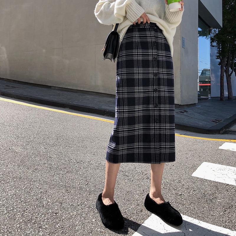 9278 # Retro Plaid Woolen Sheath Skirt Women's Autumn And Winter Korean-style Elegant Slimming Mid-length One-step Skirt