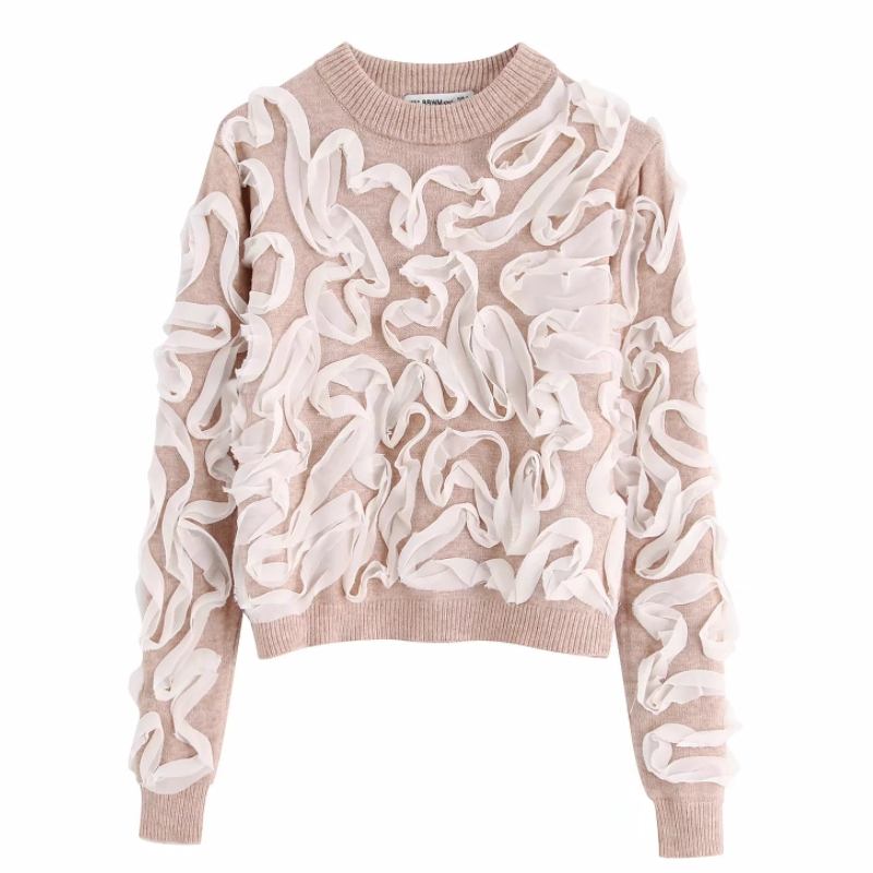 New Women Fashion Lace Appliques Basic Knitting Sweater Autumn Female O Neck Casual Slim Short Pullovers Chic Leisure Tops S211