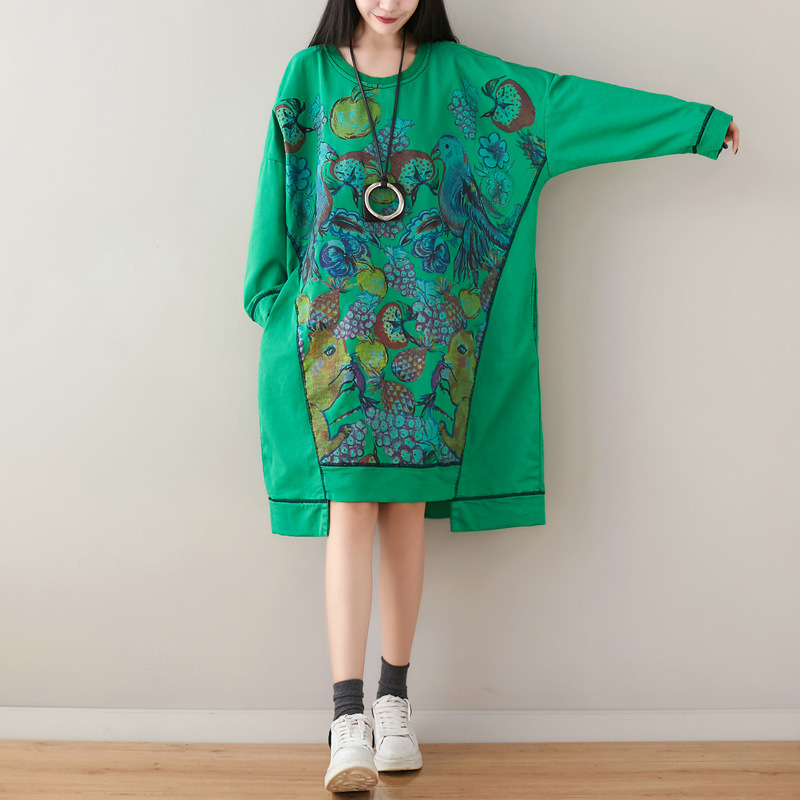 Baggy Irregular Pullovers Women Loose Oversize Patchwork Printed Dress Bat Sleeve Robe Plus Size Knitted Knee Length Cowboy