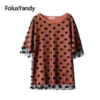 Dot Mesh Tops Women Summer Tops Plus Size One Piece Casual Short Sleeve T-shirt KKFY4473 mesh panel plus size girl face t shirt