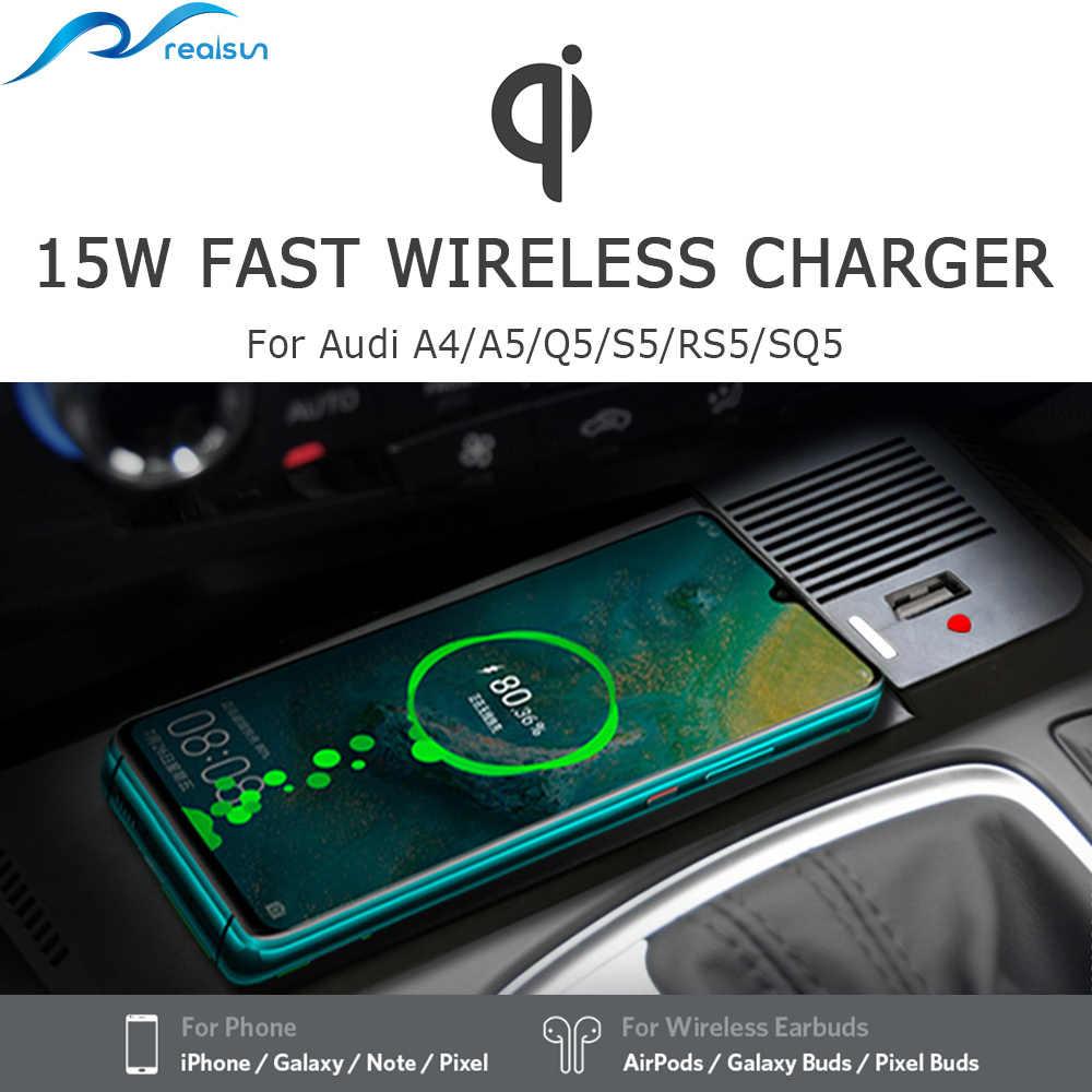 Dla Audi A4 B9 A5 A6 C7 A7 bezprzewodowa ładowarka qi