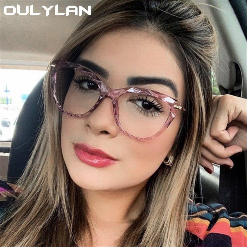 Oulylan Sexy Eyeglasses Frame Women Fashion Cat Eye Glasses Frames Transparent  Myopia Frame Female Optical Spectacles