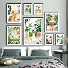 Affiche murale avec feuille de palmier pour fille marocaine, plage côtière italienne, paix, nordique, peinture sur toile imprimée, décor, images pour salon