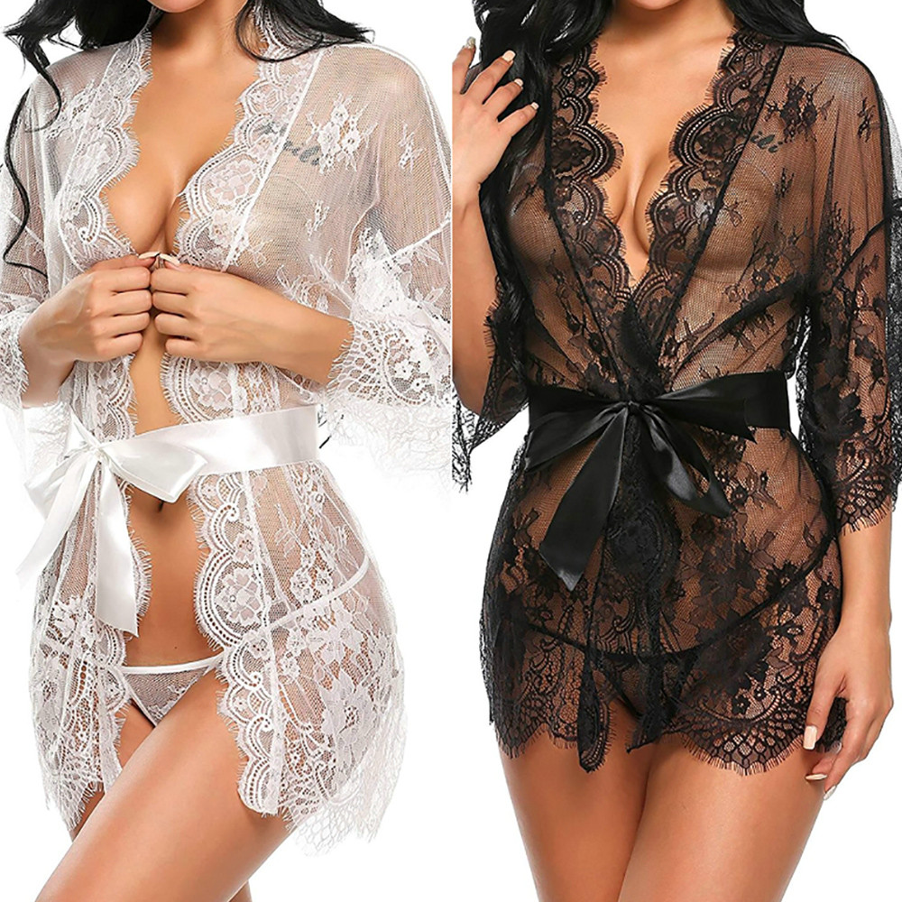 Sexy Lingerie Pajamas For Women Kigurumi Home Clothes Nightie Thin  Babydoll Sleepwear Underwear Lace Coat Briefs Nightwear H4