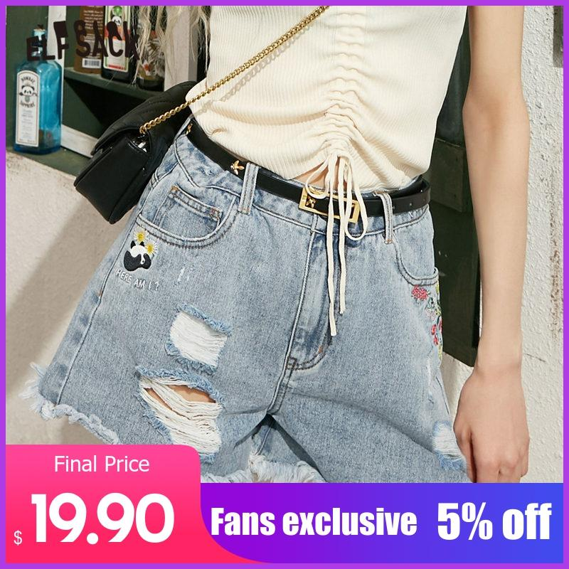 ELFSACK Blue Solid Panda Embroidery Casual Women Ripped Denim Shorts 2020 Spring New Raw Hem Sexy Ladies Korean Daily Bottoms