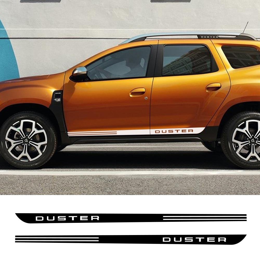 2 pièces pour Dacia Renault Duster voiture côté porte rayure autocollant Auto Sport style décalque vinyle Film Automobile voiture Tuning accessoires