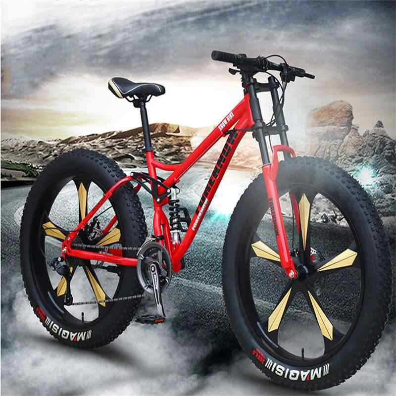 Sports Cycling Bicycle Speed Off Road Beach Mountain Bike Adult Super Wide Tires Men and Women Cycling Students,A,21 Speed