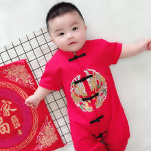 Chinese New Year Festive Baby Clothes CottonTang Costume Chinese Elements Print Jumpsuit Happy Event Baby Suits Romper+hat+shoes(China)