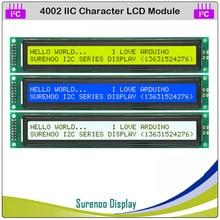 IIC / I2C / TWI 4002 402 40*2 תווים LCD מודול תצוגת צהוב ירוק כחול עם תאורה אחורית עבור Arduino