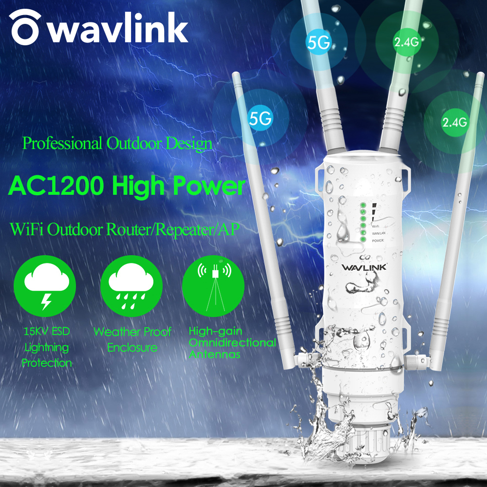 Wavlink High Power AC1200 Outdoor Wireless WiFi Repeater AP/WiFi Router 1200Mbps Dual Dand 2.4G+5Ghz Long Range Extender POE 1
