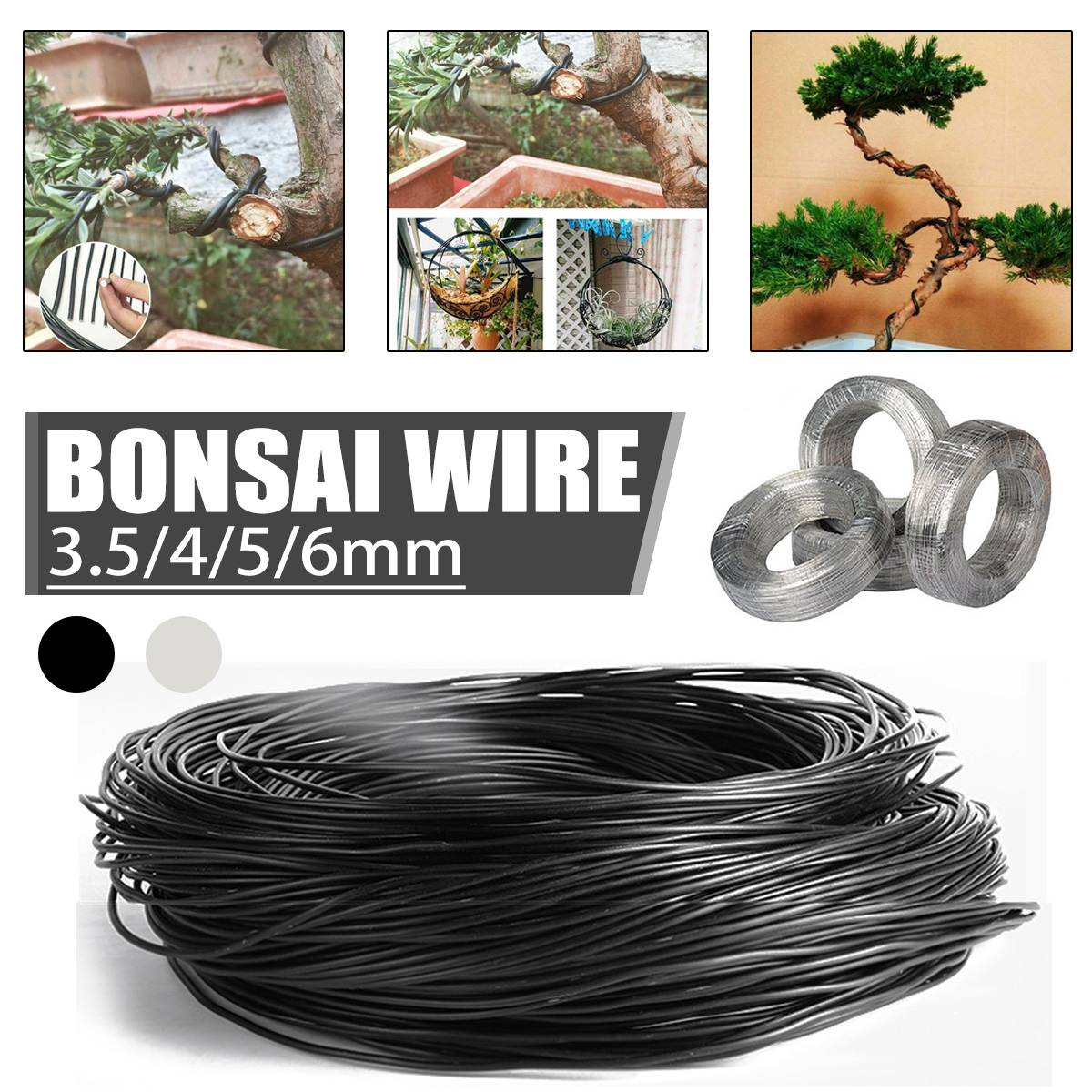 1 Roll Aluminum Tree Training Wires For Garden Plants Practical Bonsai Wire Beginners Trainers Artists Black Silver 3.5/4/5/6mm