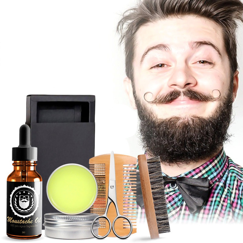 5pcs New Grooming Beard Set Men Beard Kit Beard Oil Moisturizing Wax Comb Essence Styling Scissors Hair Men Beard KitsS1