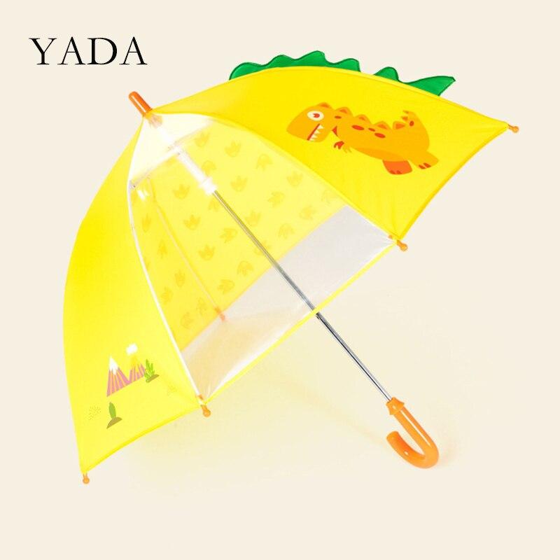 YADA Design Dinosaur Pattern Folding Rainy Transparent Umbrella For Kid Child Environmental Protection Cartoon Umbrella YD200130