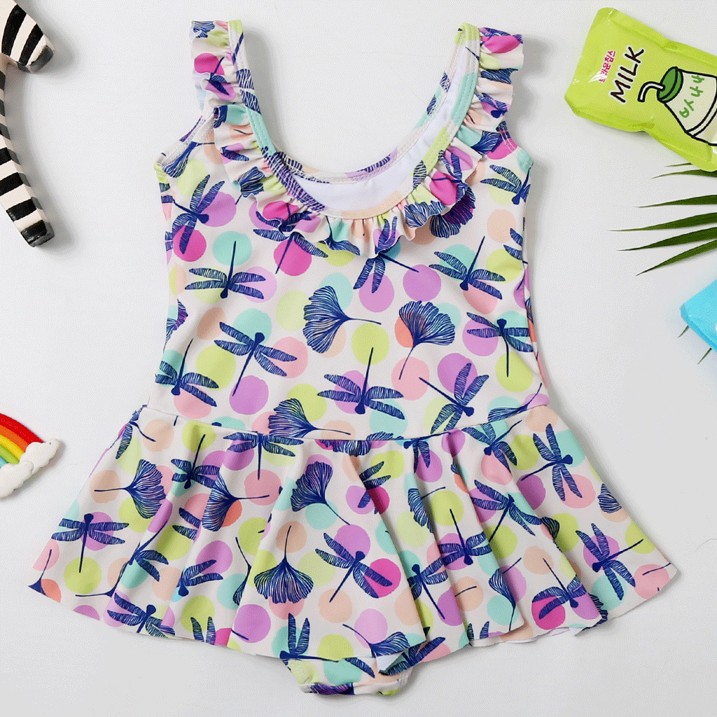 Children One-piece Bathing Suit Skirt GIRL'S Tour Bathing Suit AliExpress GIRL'S Swimsuit CHILDREN'S Bathing Suit 2065