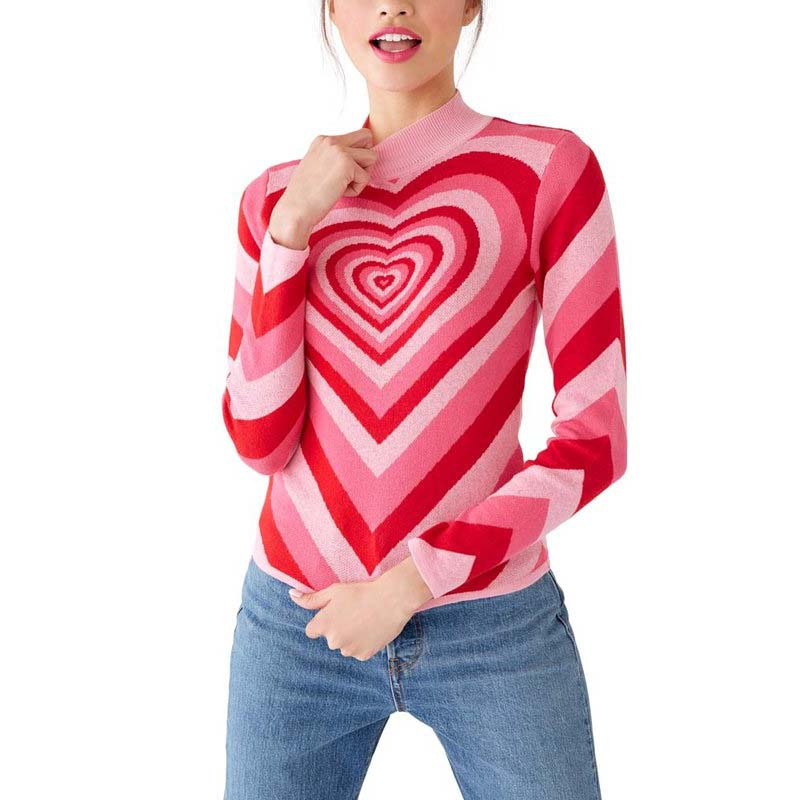New Spring Women Patchwork Pink Heart Sweet Sweater Ladies Half High Neck Slim Sweater Long Sleeve Pink Love Knitted Pullovers