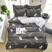 Summer Bedding Grey Stripe Duvet Cover + Flat Sheet +pillowcase 3/ 4pcs Bed Linens White Bedding Set Dog 2019 Bear Bed Cover Set