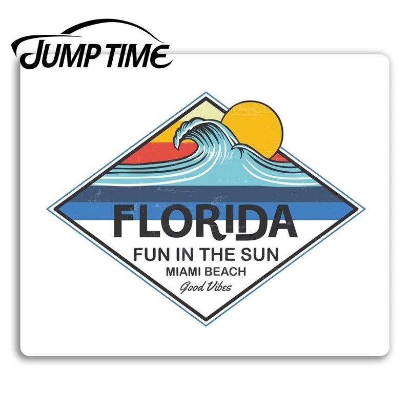 Tempo de salto para florida onda adesivos de vinil eua diversão surf surfista adesivo portátil carro pára decalque à prova dwaterproof água acessórios do carro