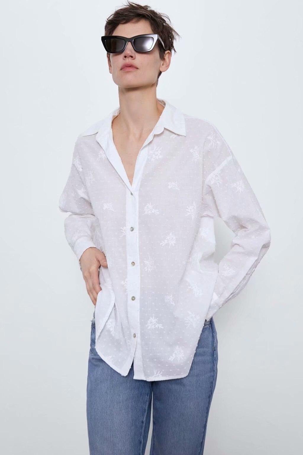 2020 New Spring Summer New Style European Cotton Loose Fit Female Blouse Shirt Zaraing Vadiming Sheining Women White Shirt