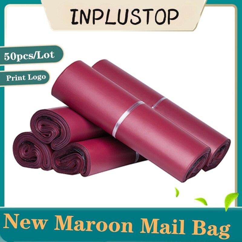 50 шт. в упаковке; Принт; Цвет коричневый, красный мешока почта утепленные курьерской сумки, сумка для хранения Водонепроницаемый мешок PE кон...