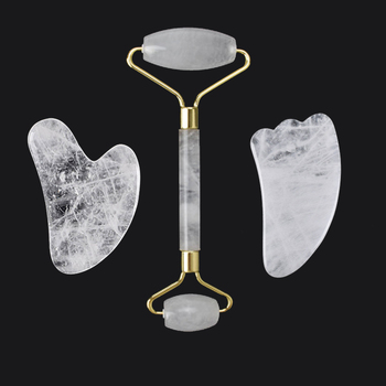 Natural White Crystal Roller and Gua Sha Tools Set Anti Aging Jade for Face Wrinkle Removal Facial Massager