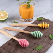 Silicone molho de mel agitador colher faia madeira lidar com prático mistura café leite chá barra agitação mel dipper varas ferramenta de cozinha