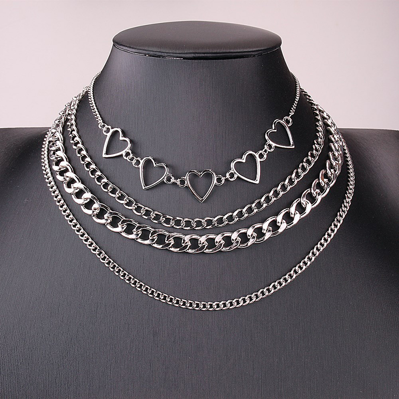 4pcs/Set Multi Layered Heart Chain Collar Choker Necklace for Women Punk Goth Aesthetic Cute Vintage Female Fashion Jewelry