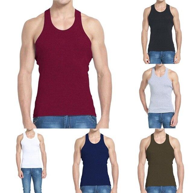 DIHOPE Men Slim Solid Sleeveless Undershirt Boy Summer Cotton Fitness Mulitcolor Vest Thermal Tights High Flexibility Tank Tops 6