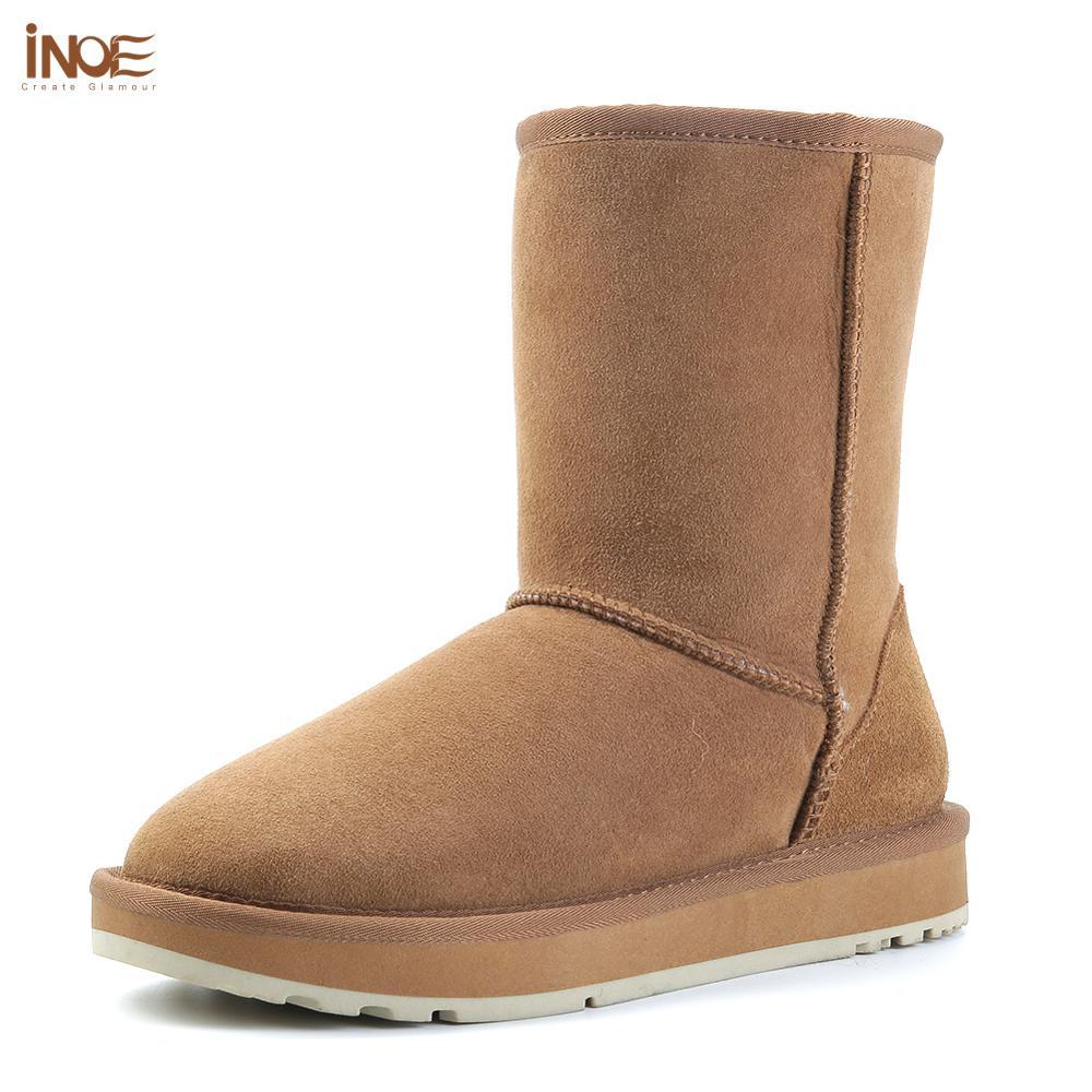 INOE الأساسية منتصف العجل جلد الغنم الجلد المدبوغ الشتاء أحذية للنساء صوف الأغنام Shearling الفراء اصطف الثلوج الأحذية الأسود البني-في أحذية منتصف ربلة الساق من أحذية على  مجموعة 1