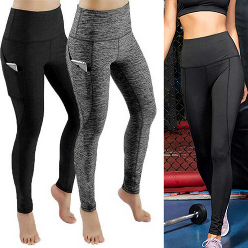 Oeak 2021 Sports Gym Long Pants Ladies Solid Color High Waist Fitness Hip Lifting Pants Side Pocket Running Yoga Pants Leggin