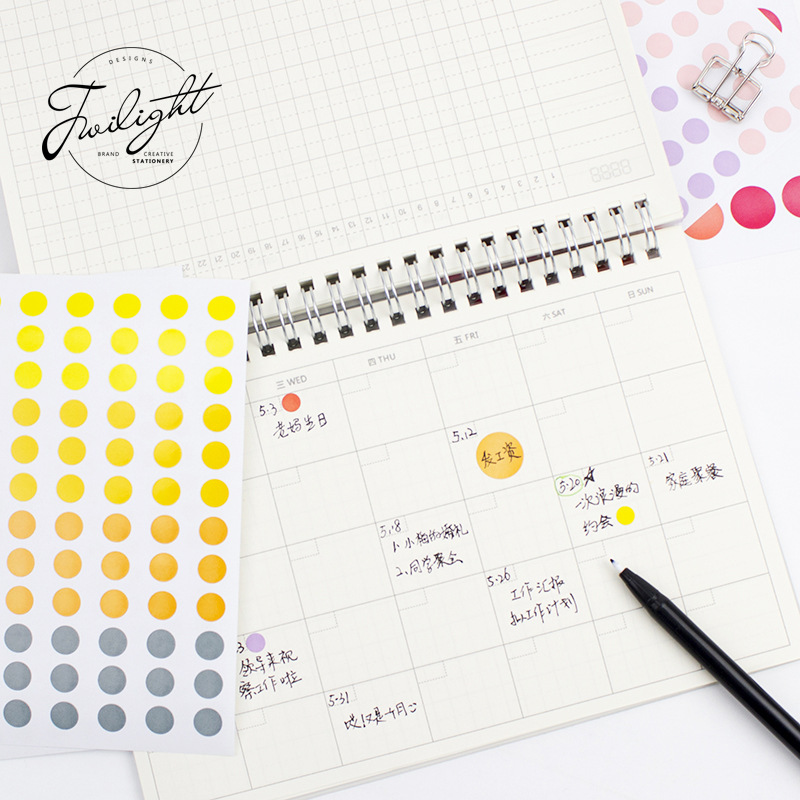 Mohamm 6 Sheets Colorful Dot Series Stickers Decoration Creative Paper Sticker Scrapbooking Stationary School Supplies