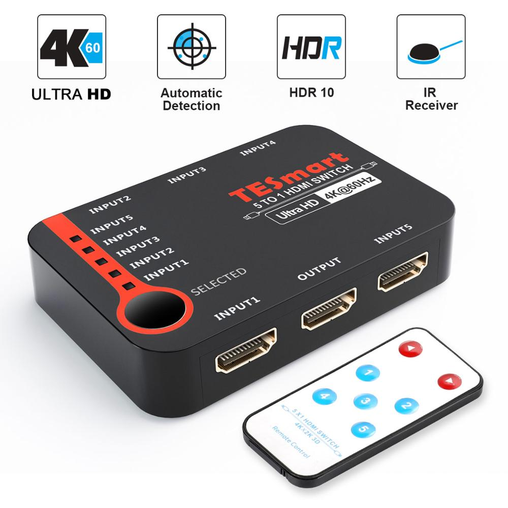 HDMI Switch 5 Ports HDMI Switcher 5 In 1 Out HDMI Splitter 5x1 Switch Ultra HD 4K@60Hz 3D For 4K HDTV PS3/4 IR Remote Control