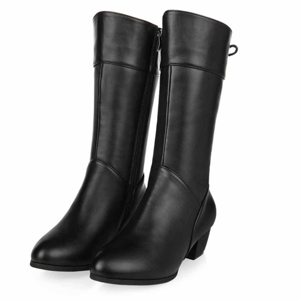 2019 kadın moda botları kadın ayakkabı kış sıcak diz yüksek botines yuvarlak ayak fermuar kare topuklu ayakkabı kadın kar botları #1023