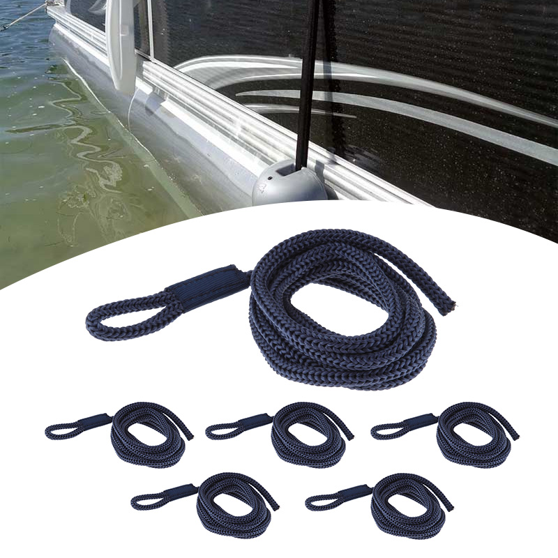 """6 Pcs Boat Fender Line 0.24"""" Thickness 5 FT Blue Double Braided Fender Line Boat Mooring Line For Yacht Marine Boat Accessories"""