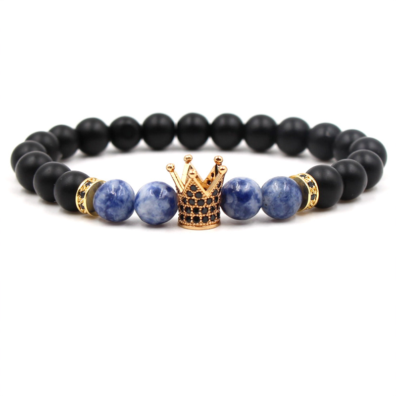 Beaded Bracelet Black Magma Natural Stone crown Bracelet Energy Men and Women Yoga Bracelets Couple Jewelry Gifts image