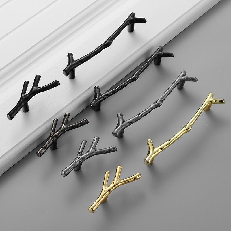 JD Golden Drawer Tree Branch Handle Antique Black Kitchen Cabinet Door Handle Silver Wardrobe Furniture Knob Hardware