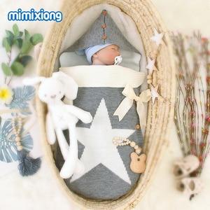 Image 3 - Śpiwory dziecięce wózki dzianinowe rożki dla noworodków niemowlę owijka dla niemowląt worek do spania pięciogwiazdkowe jesienne szare zimowe koce
