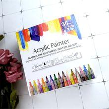 35Pcs Acrylic Permanent Paint Marker Pen for Ceramic Rock Glass Porcelain Mug Wood Shoes Canvas Painting