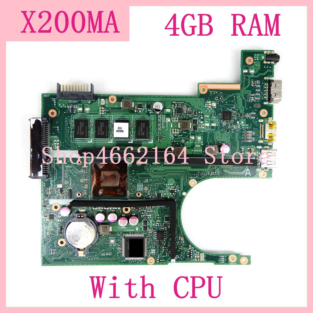 X200MA With CPU 4G Memory Mainboard Motherboard For ASUS F200MA F200M X200M X200MA Laptop Motherboard 100% Tested Free Shipping