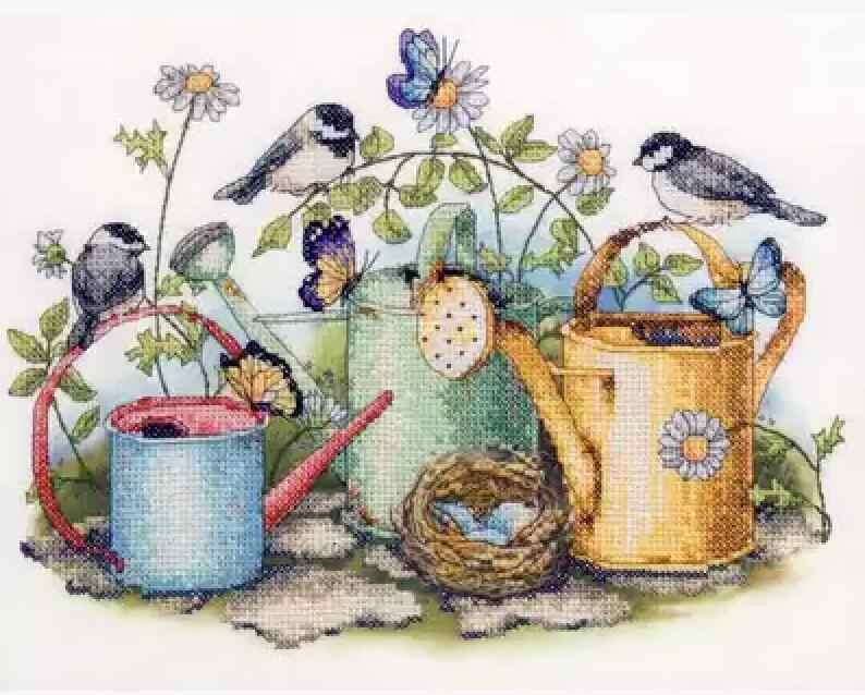 مجموعة ذهبية جميلة عد عبر الابره عدة الطيور عش الطيور الفراشات فراشة وسقي وعاء حديقة