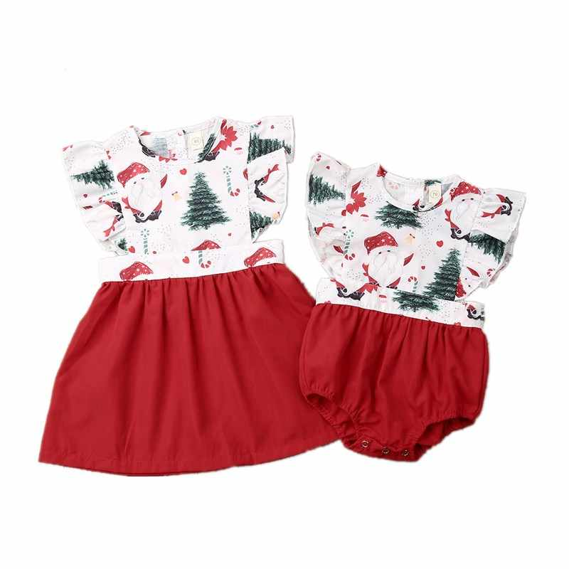 Navidad pequeña hermana grande mameluco vestido familia que empareja trajes linda princesa dibujos animados imprimir niño bebé Niñas Ropa a juego
