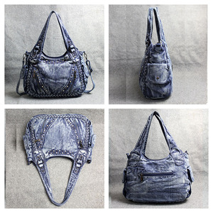 Image 5 - Kadın çantası omuz çapraz çanta büyük kapasiteli büküm rahat elmas Denim çanta